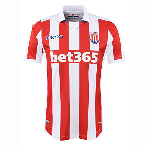 STOKE CITY FC® Original Macron Trikot Heim (kurzarm) · UNISEX Herren Damen Kinder Heimtrikot (SCFC Fanartikel) · Offizielles Merchandise Fan-Shirt (Authentic Jersey Home) · Barclay's Premier League England Fantrikot (Saison 2016/2017, XL)