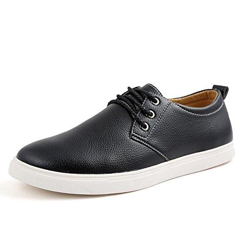 Advogue Loisir Sneakers basses Chaussures en cuir plat Chaussures de ville à lacets homme(taille:38-49) Noir