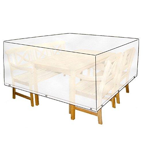 Fundas de protección para muebles de jardín 215x119x105cm blanca cuadrada protección contra la lluvia
