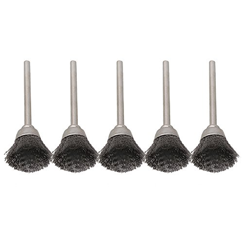 BQLZR Lot de 5 brosses en acier inoxydable et en forme de bol pour perceuse, diamètre d'extrémité de brosse 13 mm, diamètre de queue 3 mm