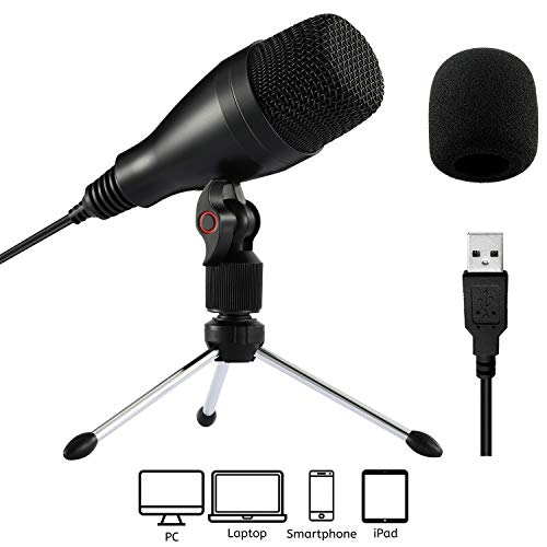 Moukey Mum-1 Microfono USB Auto Microfono a condensatore per PC, Mac, Skype, Registrazioni per Youtube, Ricerca vocale Google, Giochi