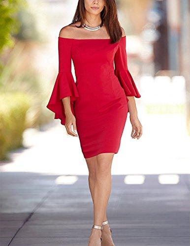 CARINACOCO Damen Abendkleider mit Wohnung Schultern und Volants Ärmel Wickelkleid Partykleid Cocktailkleid Sommerkleid Rot