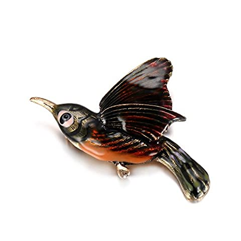 eManco Vintage Gold Enamel Hummingbird Brooch Pin for Women Fashion Costume Jewellery with Gift Box