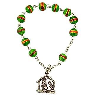Verde rosario con cuentas de cristal pulsera con colgante de Belén con figuras de la Sagrada Familia, 8pulgadas