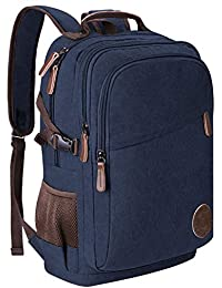 Rucksack Herren Canvas 17.3 Zoll Laptop Rucksack 35L Schulrucksack Studenten Rucksack Jungen Teenager Arbeitsrucksack für Alltag Business Casmpus Schwarz