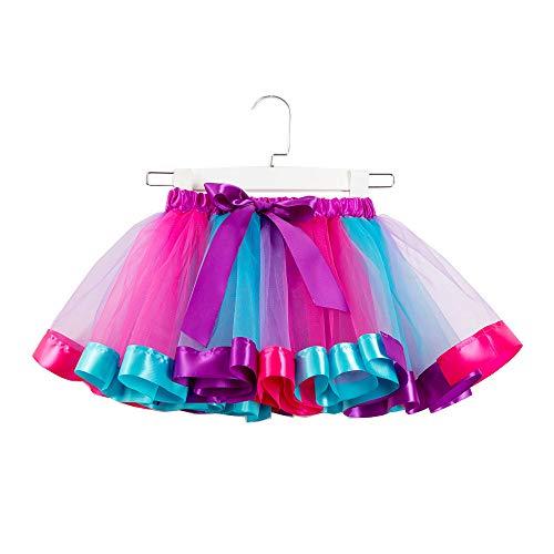 WOZOW Damen Tüllrock Tunika Einfarbig Multi-Schichten Midi Unterrock Frauen Karneval Halloween Kostüm Party Petticoat Prinzessin Kleider (M =EU:36-50,Himmelblau)
