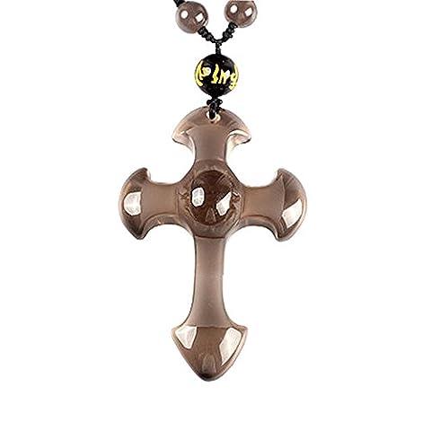 Mode Elegant Kreuz Christentum Eis Art Von Obsidian Stein Seil Handgefertigt Halskette