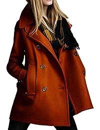 Damen Mantel Rovinci Herbst Mode Einfarbig Winterjacke Revers Lose Langarm Pullover Outwear Winterjacke Windbreaker Oberbekleidung Steppmantel Parka Jacke Cardigan Trenchcoat Coat mit Tasche