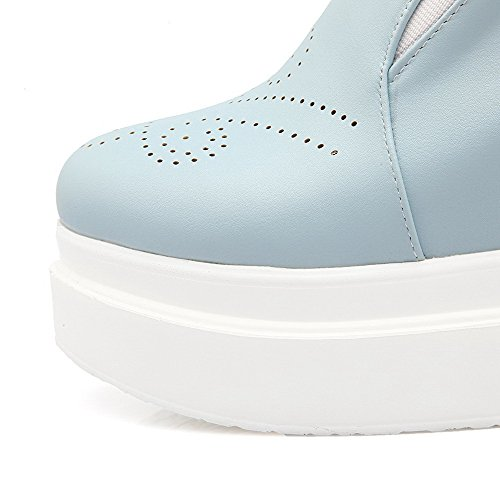 AllhqFashion Damen Hoher Absatz Weiches Material Rein Ziehen Auf Rund Zehe Pumps Schuhe Blau