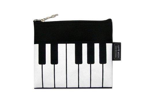 Preisvergleich Produktbild Musik-Themen Mini Münzen-Beutel Reißverschluss-Tasche - Schwarz Weiß Keyboard Design