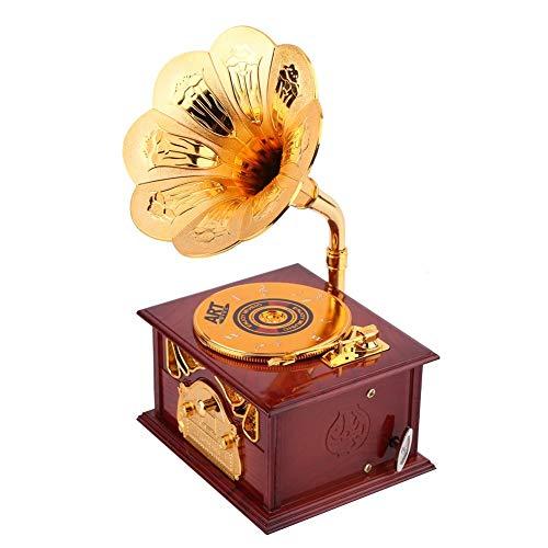 Vintage Boîte à Musique Mécanisme Gramophone Rétro Petite Boîte à Bijoux en Plastique pour Décoration Cadeau Anniversaire Noël Femme Fille Enfant(Marron)