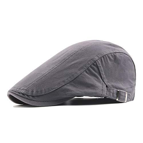 Rolcheleego - Boinas de Verano para Hombre Mujer Unisex de Algodón Gorra Visera Cap Plano Sombrero Newsboy Deportivo Hat Flat Ocio Ajustable - Gris