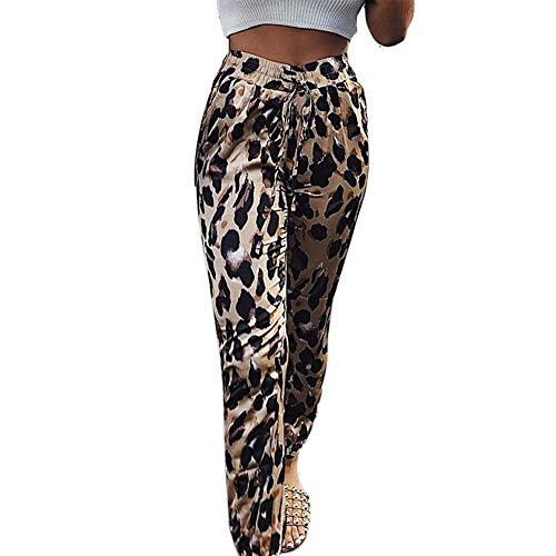 WQIANGHZI Hosen Damen Elegant Leopard Elastische Taille Schnürfüße Laterne Hosen Lang Frauen Leopardenmuster Laufhose Fitness Slim Bleistifthosen Baggy