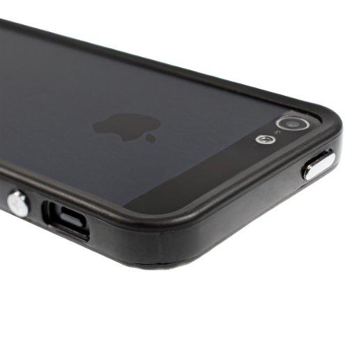 kwmobile TPU Silikon Bumper Hülle für Apple iPhone SE / 5 / 5S - Protection Rahmen Schutzhülle mit Aluknöpfen in Grün .Schwarz
