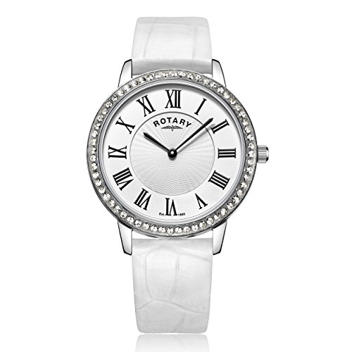 Rotary Women's Quartz Watch with Mother Of Pearl Dial Analogue Display and White Leather Strap LS00358/06/W