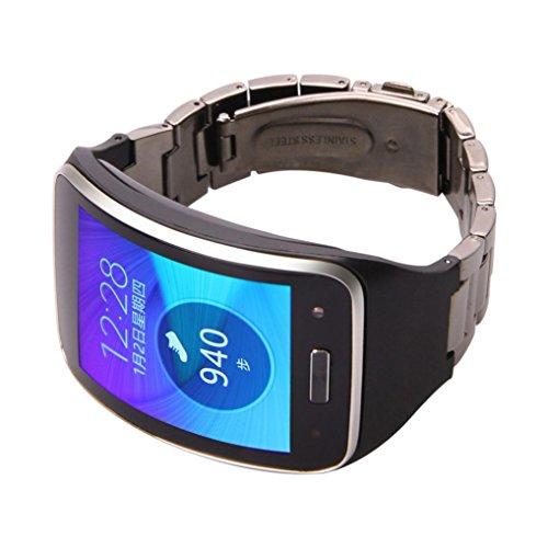 For Samsung Gear S SM-R750 ,Ouneed ® Del metal del acero inoxidable de venda de reloj de pulsera correa de muñeca para Samsung Gear S SM-R750 (Negro)