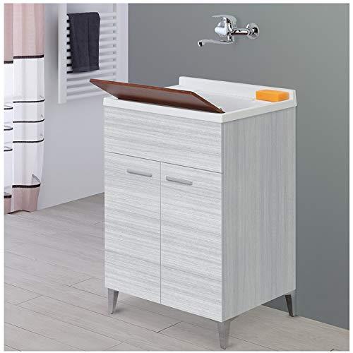 Mobile lavatoio grigio da interno 60x50 con vasca in resina e tavoletta in legno