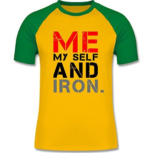 CrossFit & Workout - ME MY SELF AND IRON - zweifarbiges Baseballshirt für Männer Gelb/Grün