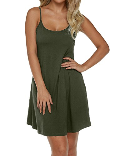 Auxo Donna Vestiti Abito Skirt Dress Senza ManicheEstate Semplice Elegante Tinta Unita Casual Verde EU 44/Size 2XL