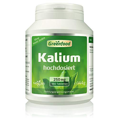 Greenfood Kalium, 250 mg, 120 Tabletten - stabilisiert den Blutdruck. Stärkt Nerven, Muskeln und das Herz. OHNE künstliche Zusätze. Ohne Gentechnik. Vegan.