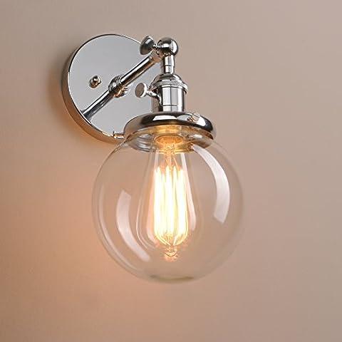 Pathson Antik Deko Design Kleine Kugel Klar Glas innen Wandbeleuchtung Wandleuchten Loft-Wandlampen Wandbeleuchtung (Chrom