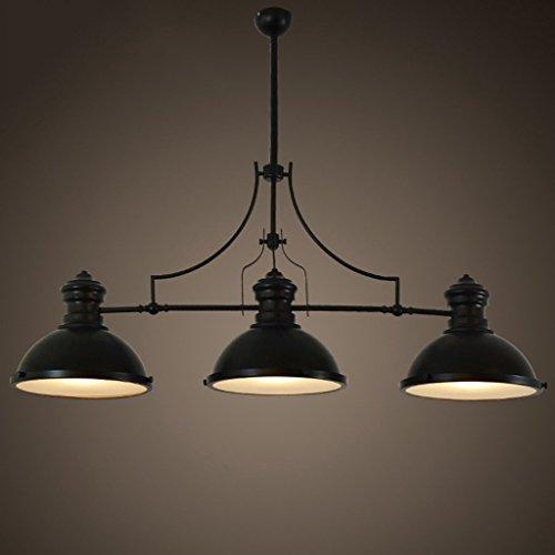 Industriel Lustre Retro Fer Forgé Billard Noir Loft Restaurant Lustre Moderne Luminaires 3 Têtes