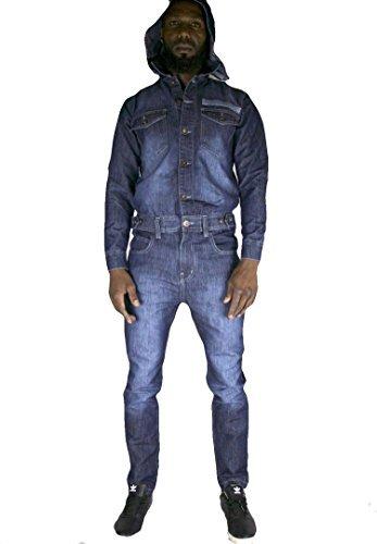 Time Is Money Combinaison Combinaison en Jean, Ensembles Urbain Droit ajusté Jeans Hommes Salopette