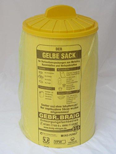 *pfiffige Einfüllhilfe für Gelbe Säcke – Sacktonne gelb mit Deckel – Gelbe Säcke werden stabiler – Ständer für Gelben Sack, Müllsackständer, Müllständer, Wertstoffbehälter*