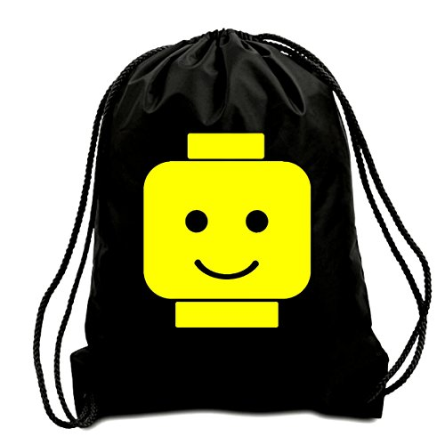 Price comparison product image HAPPY LEGO HEAD CORDED SHOULDER BAG,SWIMMING BAG,PE BAG,GYMSAC,DRAWSTRING BAG, WATER RESISTANT