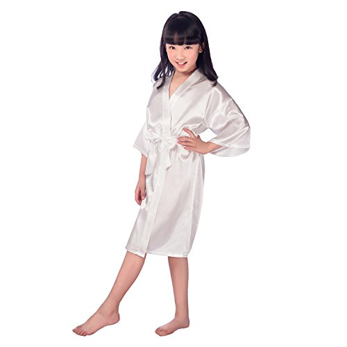 Hibote Kids Girl's Satin Kimono Robe for Kids Wedding Dress Gown