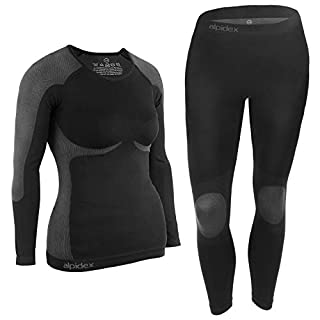 ALPIDEX Women's Functional Underwear Thermal underwear Ski Underwear - breathable, warming and quick-drying, Size:S/M, Colour:Black-Grey