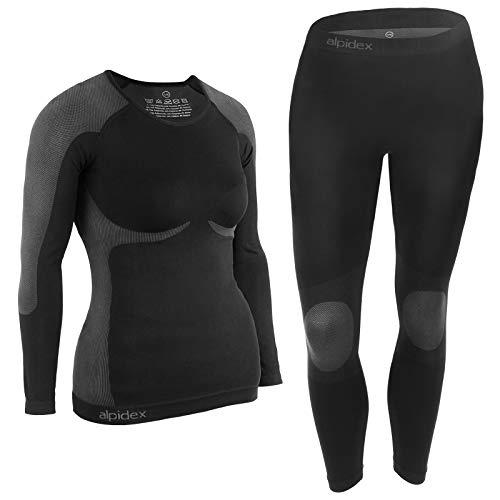 Alpidex biancheria intima funzionale da donna, termica, biancheria intima per lo sci - traspirante, riscaldante e ad asciugatura rapida - taglia s/m, black grey