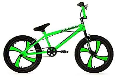 "Freestyle BMX 20"" Cobalt Mag Wheels Bright Green KS Cycling"