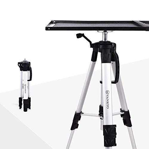 VANKYO Beamer-Ständer Aluminium Bodenständer für Projektor,Universal Stativ Ständer,verstellbar Beamertisch für Beamer Laptop mit Höhe von17 '' bis 46 '' (Silber)