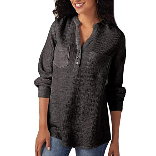 Damen Langarm Bluse, FGYH Damen V-Ausschnitt Baumwolle Longsleeve Plus Size Tank Karriere Bluse T Shirt(M, Schwarz) (Kurzarm-kleid Karriere Frau)
