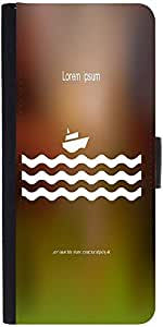 Snoogg Stylized Cruise Liner And Waves Graphic Snap On Hard Back Leather + Pc...