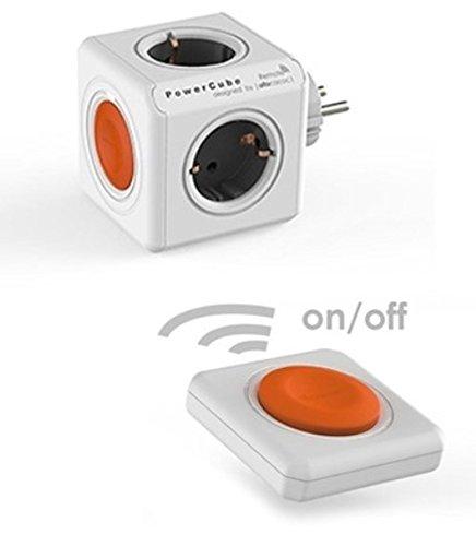 Allocacoc PowerCube Orginal Remote 4xSteckdose mit Fernbedienung weiß Orange 7052