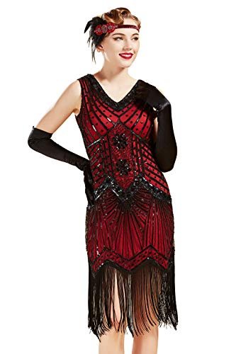 (BABEYOND Damen Flapper Kleider voller Pailletten Retro 1920er Jahre Stil V-Ausschnitt Great Gatsby Motto Party Damen Kostüm Kleid (Rot, XXXL (Fits 90-94 cm Waist)))