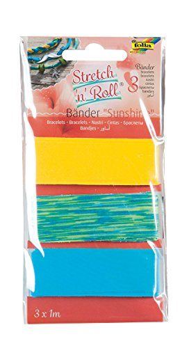 folia 93303 - Armbandbastelset Strech und Roll - Bänder Sunshine, mehrfarbig