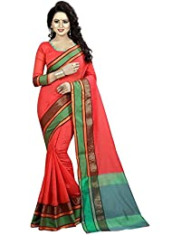 Red Cotton Silk Woven Saree With Blouse