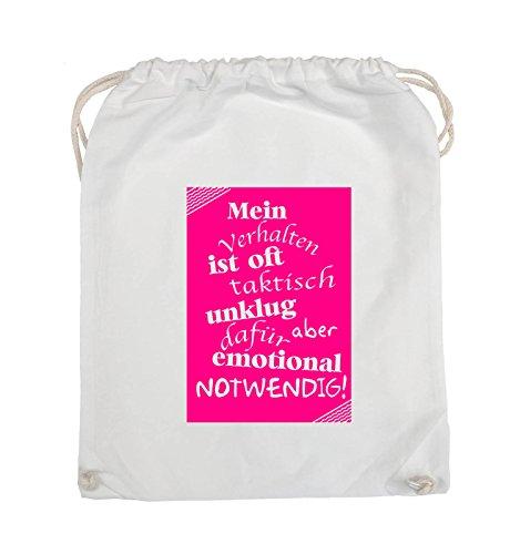 Comedy Bags - Mein Verhalten ist oft taktisch unklug - ZETTEL - Turnbeutel - 37x46cm - Farbe: Schwarz / Silber Weiss / Pink