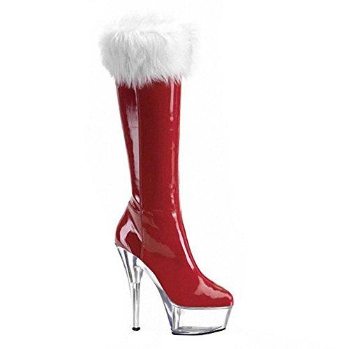 Donne lungo stivali in pelle Super High Heels notte club Dance PL ¨ ¹ e cristallo Natale prestazioni rosso nero scarpe, 5-35 1-37