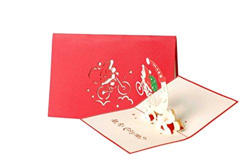 Diese-Klappkarten Weihnachten Heitere Santa auf Fahrrad 3D Pop-Up Karte   Lustig Froh Weihnachtskarte mit Umschlag W25