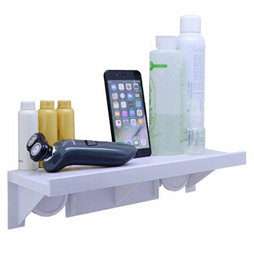 okomatch Badezimmer-Regal ohne Bohrer & Nagel, leichte Installation, Kraftvoller Saugnapf, wand-montierte, stabile Kunststoff-Ablage für Küche/ Dusche & Wohnzimmer/ Büro, plastik, 1pcs/Pack, M