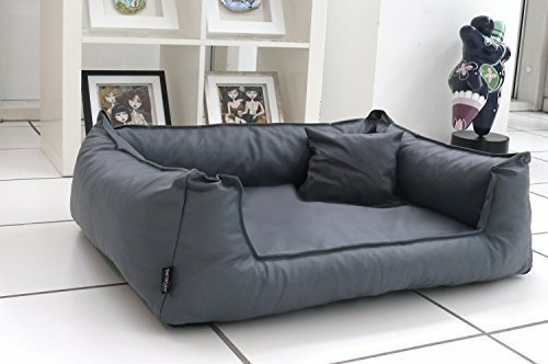 TIERLANDO® G4-L-02 Orthopädisches Hundebett Goofy VISCO Anti-Haar Kunstleder Hundesofa Hundekorb Gr. L 110cm Graphit Grau Ortho