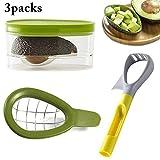 JUSTDOLIFE 3PCS Strumento Avocado Creativo Affettatrice di Avocado con Avocado Contenitore per Casa