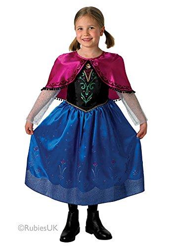 Die Eiskönigin - Völlig unverfroren Mädchen-Kostüm Anna, hochwertiges Kostüm mit Umhang, in alle Größen (Uk Kostüme Of Ages Rock)