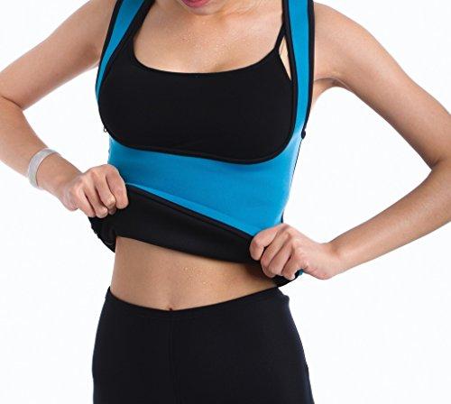 Valentina Damen Slimming Sweat Weste Hot Neopren Shirt Body Shapers für Gewicht Verlust, damen, blau