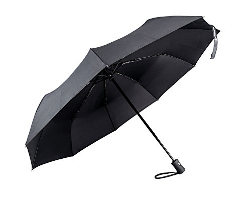 Regenschirm Taschenschirm,Shinmax Winddicht Stockschirm mit 210T Stoff Windsicher bis 140 km/h Auf-Zu-Automatik Transportabel Taschenschirm für Reisen Outdoor Automatik Regenschirm (Schwarzer Griff-9-Rippen) (Winddicht Regenschirm Compact)
