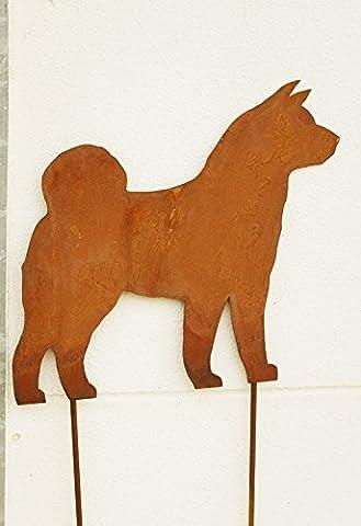 Gartendeko Rost Stab AKITA Inu 120 cm Hund Dog (Akita Inu Hund)